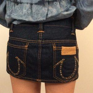 True Religion dark wash mini skirt, size 27